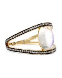 Noor Fares - Black 18-karat Gold Moonstone, Diamond And Sapphire Ring - Lyst