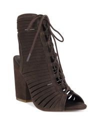 MIA | Brown Shay Lace Up Booties | Lyst