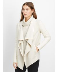 Vince - Natural Wool Blend Drape Neck Jacket With Leather Sleeves - Lyst
