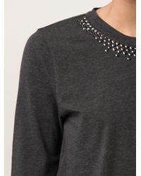 Brunello Cucinelli - Gray Cotton Jersey with Swarovski Neck - Lyst