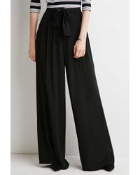 Forever 21 - Black Belted Wide-leg Pants - Lyst