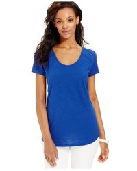 DKNY - Blue Lace-Trim Scoop-Neck Tee - Lyst