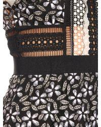 Self-Portrait - Black Flower Panelled Midi Dress - Lyst
