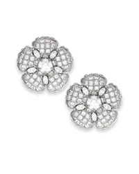 kate spade new york - Metallic New York Silvertone Glass Stone Flower Stud Earrings - Lyst
