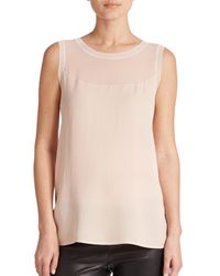 VINCE | Pink Sheer-inset Sleeveless Top | Lyst