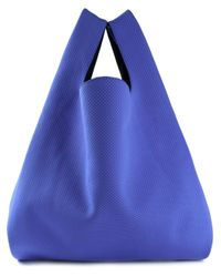 MM6 by Maison Martin Margiela | Blue Perforated Cotton Bucket Tote | Lyst