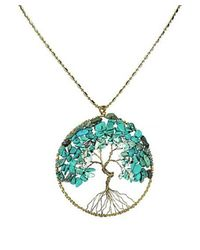Aeravida | Blue Turquoise Stone Eternal Tree Of Life Brass Long Necklace | Lyst