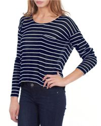 William Rast | Blue Striped Drop-Sleeve Top | Lyst