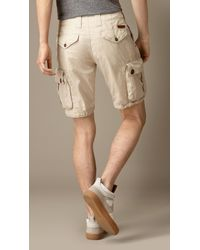 Burberry - Natural Cotton Poplin Chino Shorts for Men - Lyst