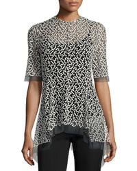 Lela Rose - Black Dotted Tulle High-low Top - Lyst