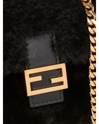 Fendi - Black Micro Baguette Shearling Cross-body Bag - Lyst