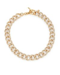 Michael Kors | Metallic Brilliance Statement Pavé Chain Toggle Necklace/goldtone | Lyst
