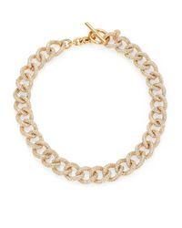 Michael Kors - Metallic Brilliance Statement Pavé Chain Toggle Necklace/goldtone - Lyst