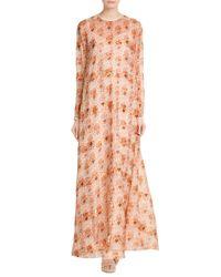 Rochas - Pink Printed Silk Floor Length Gown - Lyst