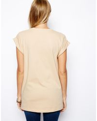ASOS - Natural Boyfriend T-shirt with Roll Sleeve - Lyst