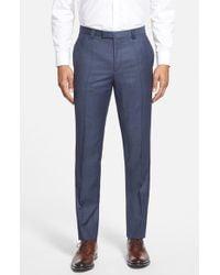 HUGO - Blue 'heibo' Flat Front Wool Blend Trousers for Men - Lyst