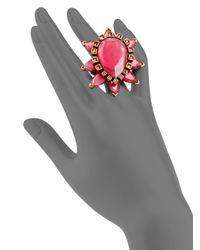 Oscar de la Renta - Pink Swarovski Crystal Starburst Ring - Lyst