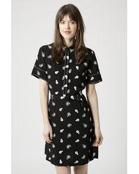 TOPSHOP - Black Paisley Stitch Detail Tea Dress - Lyst