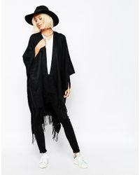 Pieces - Black Oversized Blanket Wrap - Lyst