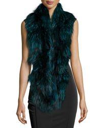 Gorski - Blue Knit Fur Infinity Ruffle Scarf - Lyst