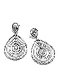 David Yurman | Metallic Cable Classics Drop Earrings With Diamonds | Lyst