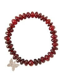 Sydney Evan | Red 8Mm Faceted Garnet Beaded Bracelet With 14K Gold/Diamond Small Butterfly Charm (Made To Order) | Lyst