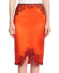 Rag & Bone - Orange Izabella Lace-trimmed Silk Pencil Skirt - Lyst