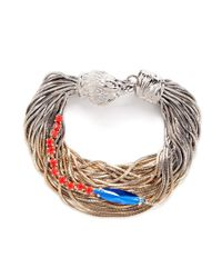 Iosselliani | Metallic Multi-chain Crystal And Stone Embellished Bracelet | Lyst