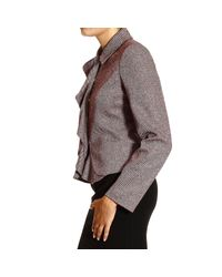 Armani Jeans - Purple Jackets Pointed Wool With Zip And Rouche - Lyst