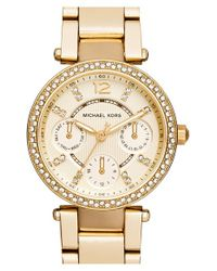 MICHAEL Michael Kors - Metallic Michael Kors 'mini Parker' Multifunction Bracelet Watch - Lyst