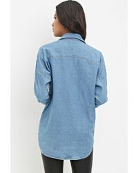 Forever 21 | Blue Distressed Denim Shirt | Lyst