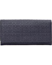 Loewe | Blue Logo-embossed Leather Continental Wallet | Lyst