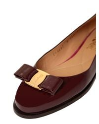 Ferragamo - Purple 10mm Luna Patent Leather Flats - Lyst