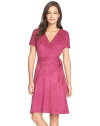 Ellen Tracy | Purple Faux Suede A-line Dress | Lyst