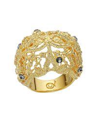 Alexander McQueen | Metallic Gold-Plated Swarovski Crystal Ring | Lyst