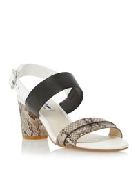 Dune | Black Joro Snake Leather Heels | Lyst