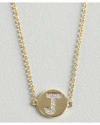 KC Designs   Metallic Gold And Diamond 'j' Initial Pendant Bracelet   Lyst