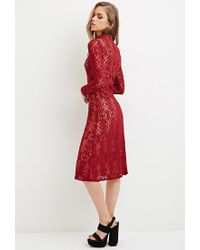 Forever 21 | Red Lace Mock-neck Midi Dress | Lyst