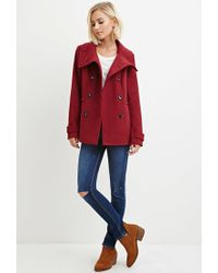 Forever 21 - Purple Button-front Peacoat - Lyst