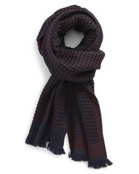 Canali | Blue Waffle Knit Wool Scarf for Men | Lyst
