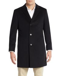 Saks Fifth Avenue - Black Slim-fit Cashmere Coat for Men - Lyst
