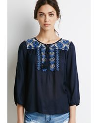 Forever 21 | Blue Floral Embroidered Peasant Top | Lyst