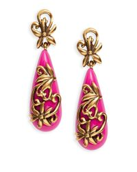 Oscar de la Renta | Pink Filigree Clip-on Drop Earrings | Lyst