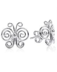 Aeravida   Metallic Enchanted Swirls Butterfly Sterling Silver Post Earrings   Lyst