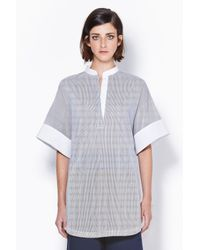 3.1 Phillip Lim - Gray Short Sleeve Tunic With Poplin Collar And Cuff - Lyst