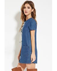 Forever 21 - Blue Lace-up Denim Shift Dress - Lyst