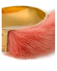Fendi - Red Mink Fur Bangle - Lyst