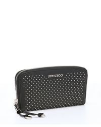 Jimmy Choo - Black Studded Leather 'filipa' Continental Wallet - Lyst