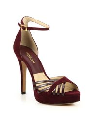 Michael Kors   Red Kinsley Suede & Patent Leather Platform Sandals   Lyst