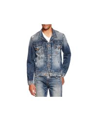 True Religion | Blue Dylan Distressed Denim Jacket for Men | Lyst
